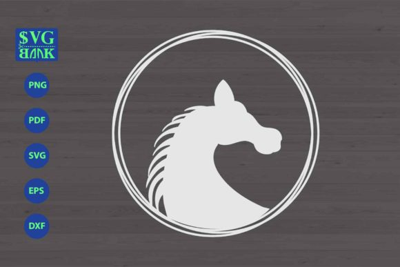 Download Free Horse Silhouette In Circle Frame Graphic By Svgbank Creative for Cricut Explore, Silhouette and other cutting machines.