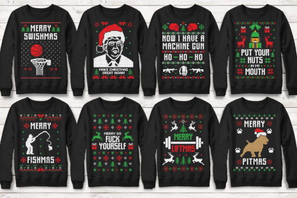 Print on Demand: 100+ Ugly Christmas Template Designs Graphic Print Templates By svgsupply - Image 9