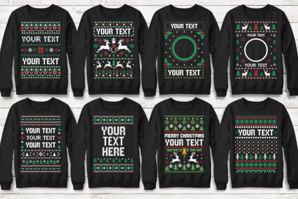 Print on Demand: 100+ Ugly Christmas Template Designs Graphic Print Templates By svgsupply - Image 11