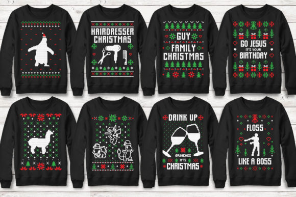 Print on Demand: 100+ Ugly Christmas Template Designs Graphic Print Templates By svgsupply - Image 5