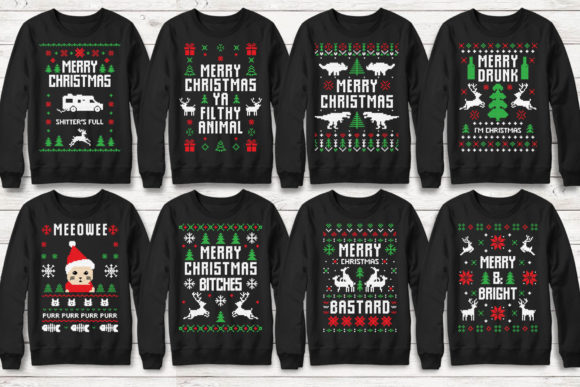 Print on Demand: 100+ Ugly Christmas Template Designs Graphic Print Templates By svgsupply - Image 8