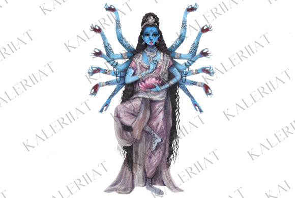 Download Free Watercolor India Goddess Kali Graphic By Kaleriiatv Creative for Cricut Explore, Silhouette and other cutting machines.