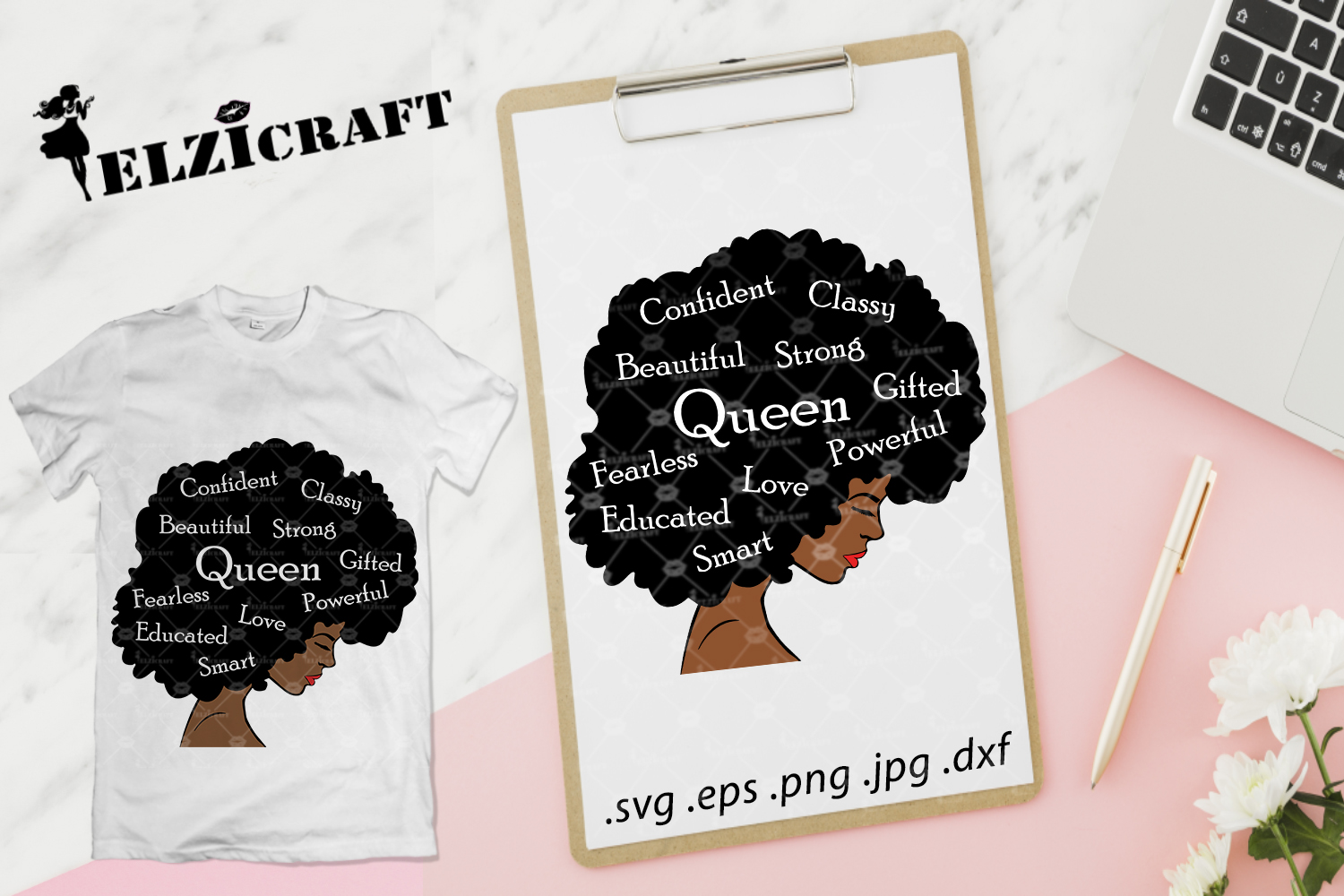 Download Free Afro Woman Queen Life Afro Hair Graphic By Elzicraft for Cricut Explore, Silhouette and other cutting machines.