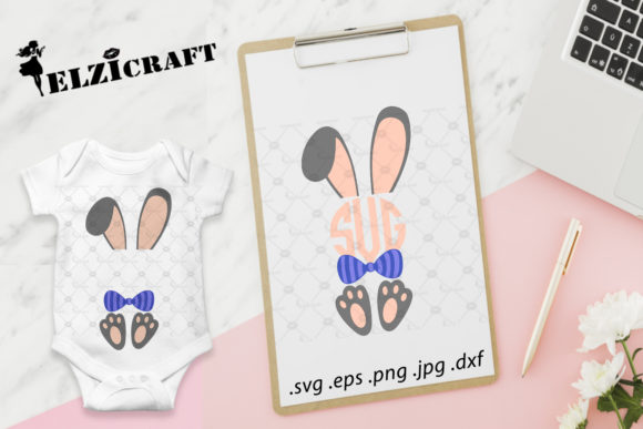 Download Free Boy Bunny Monogram Bunny Ears Easter Graphic By Elzicraft for Cricut Explore, Silhouette and other cutting machines.
