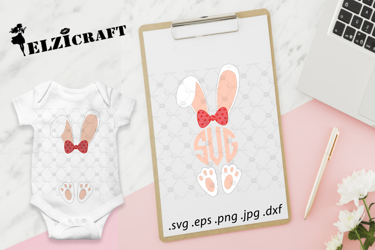 Download Free Girl Bunny Monogram Bunny Ears Easter Graphic By Elzicraft for Cricut Explore, Silhouette and other cutting machines.