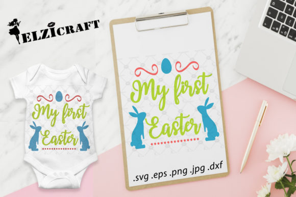 Download Free My First Easter Happy Easter Bunny Graphic By Elzicraft for Cricut Explore, Silhouette and other cutting machines.