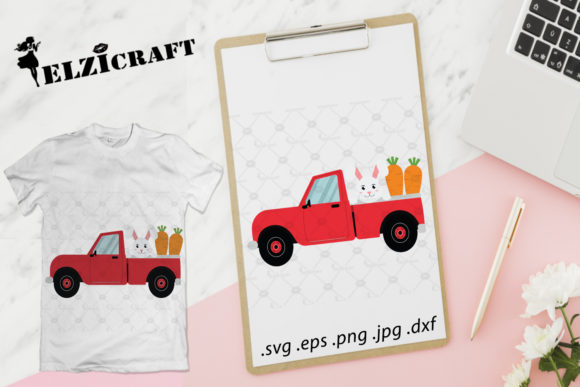 Download Free Easter Truck Easter Bunny Carrots Graphic By Elzicraft for Cricut Explore, Silhouette and other cutting machines.