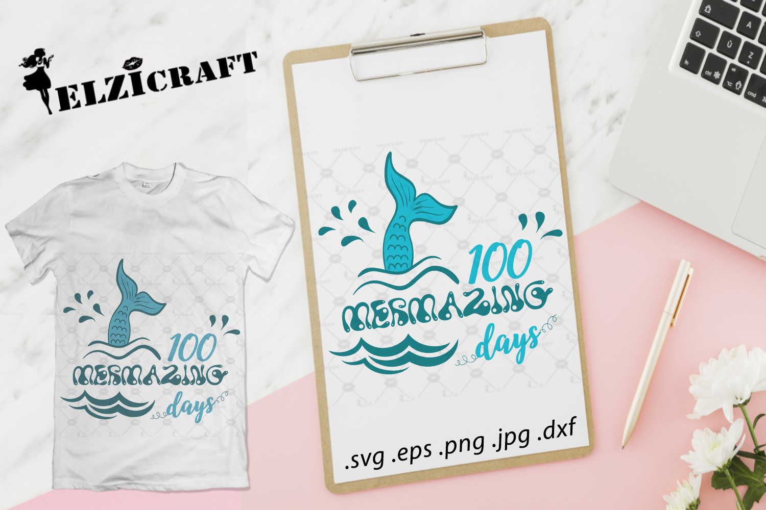 Download Free 100 Mermazing Days 100th Day Of School Graphic By Elzicraft for Cricut Explore, Silhouette and other cutting machines.
