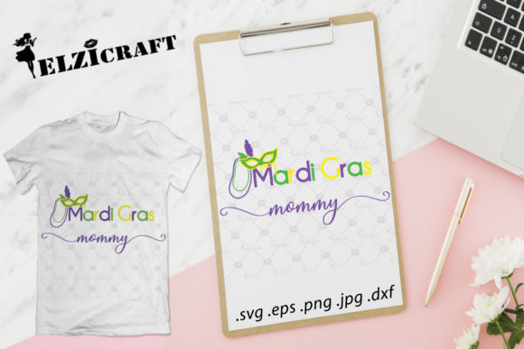Download Free Mardi Gras Mommy Mardi Gras Carnival Graphic By Elzicraft for Cricut Explore, Silhouette and other cutting machines.