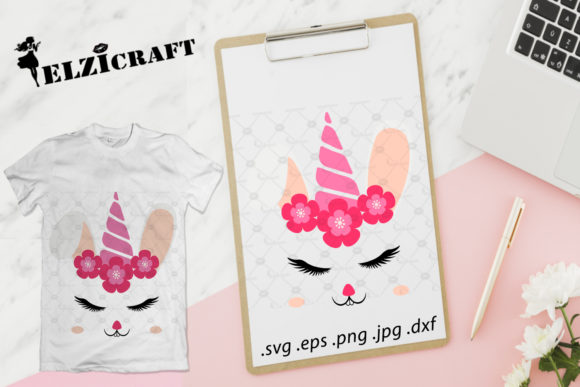 Download Free Easter Unicorn Face Happy Easter Bunny Graphic By Elzicraft Creative Fabrica for Cricut Explore, Silhouette and other cutting machines.