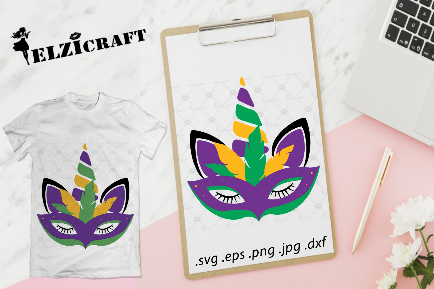 Download Free Mardi Gras Unicorn Unicorn Face Mask Graphic By Elzicraft for Cricut Explore, Silhouette and other cutting machines.