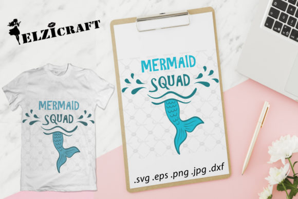Download Free Mermaid Squad Mermaid Crew Scales Graphic By Elzicraft for Cricut Explore, Silhouette and other cutting machines.