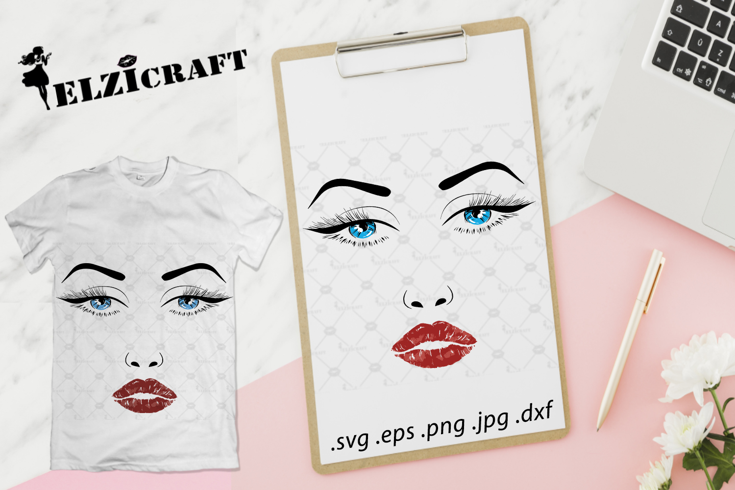 Download Free Perfect Face Woman Face Makeup Lips Graphic By Elzicraft for Cricut Explore, Silhouette and other cutting machines.