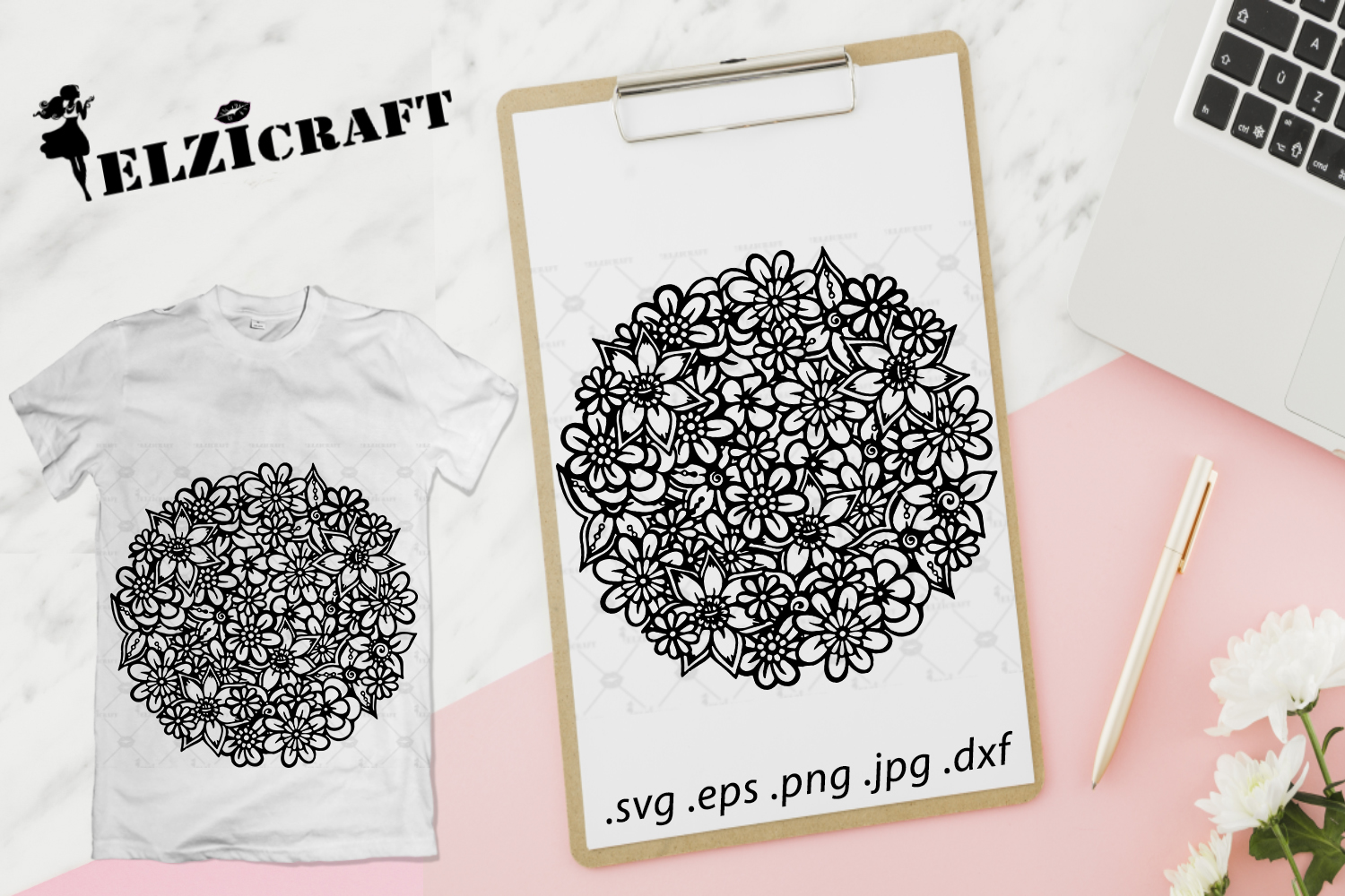 Flower Mandala Zentangle Silhouette Graphic By Elzicraft