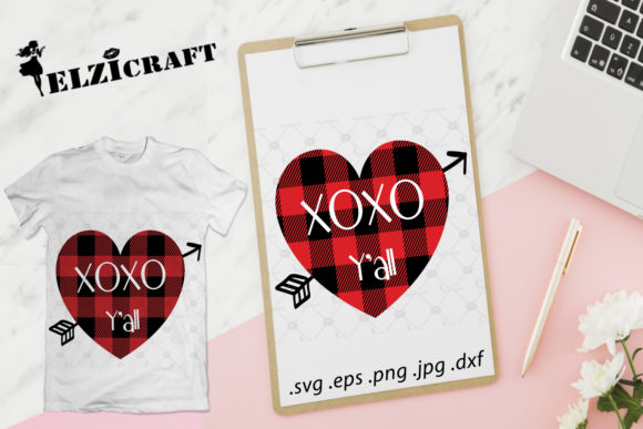 Xoxo Ya'll, Valentine, Buffalo Plaid Graphic Crafts By elzicraft