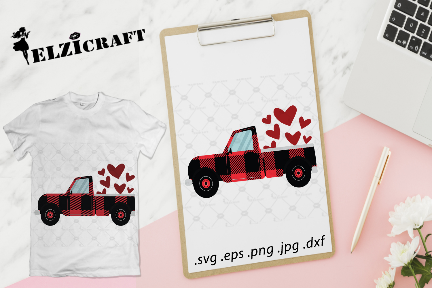 Download Free Buffalo Plaid Truck Valentine S Day Graphic By Elzicraft for Cricut Explore, Silhouette and other cutting machines.