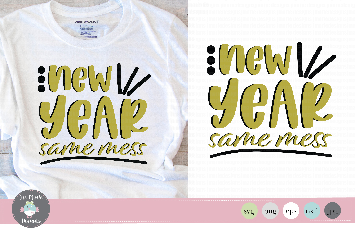 Download Free New Year Same Mess Graphic By Thejaemarie Creative Fabrica for Cricut Explore, Silhouette and other cutting machines.