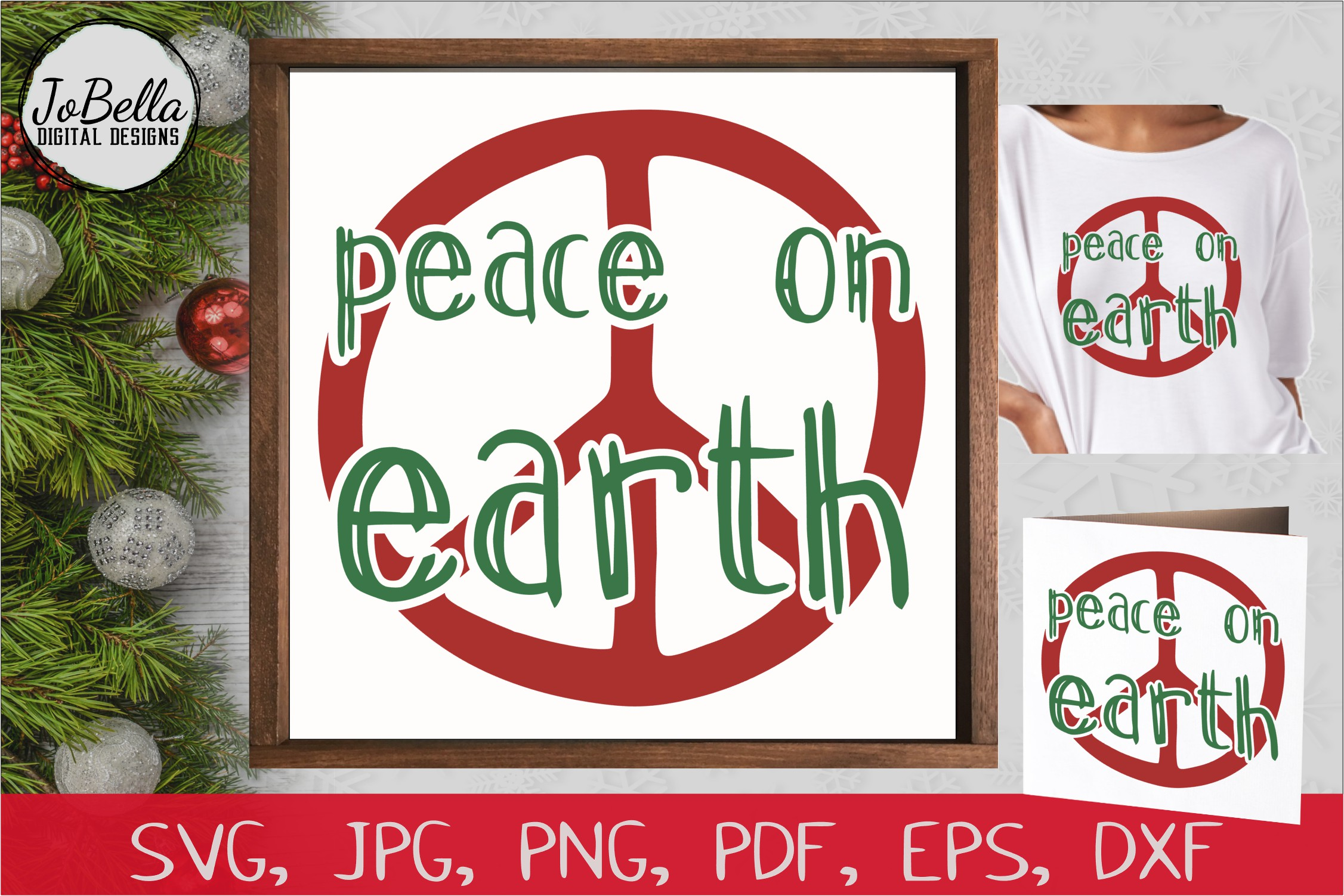 Download Free Peace On Earth Christmas Svg Graphic By Jobella Digital Designs for Cricut Explore, Silhouette and other cutting machines.