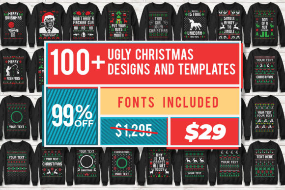 Print on Demand: 100+ Ugly Christmas Template Designs Graphic Print Templates By svgsupply - Image 14