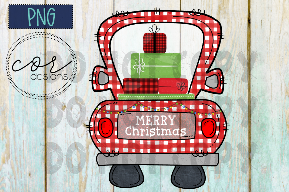 Print on Demand: Red Plaid Truck - Merry Christmas PNG Graphic Crafts By designscor - Image 1