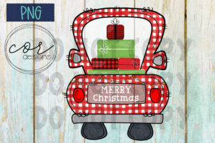 Red Plaid Truck - Merry Christmas PNG Graphic By designscor