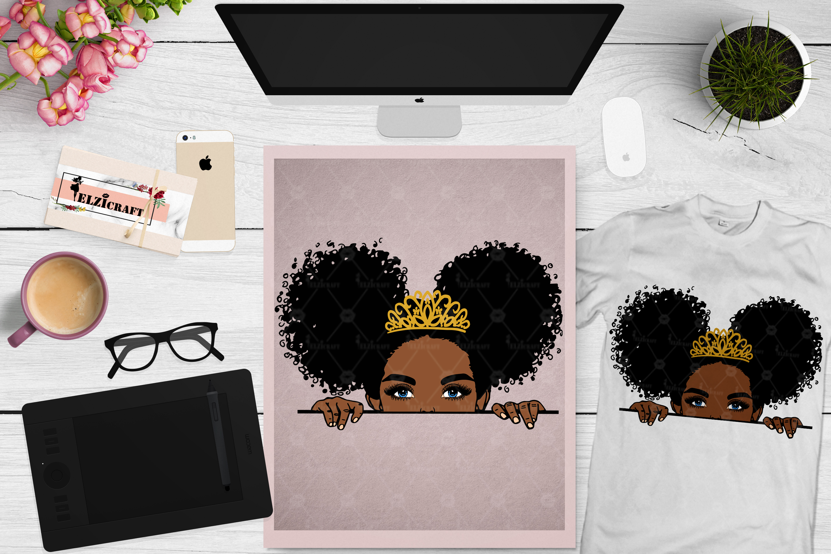 Download Free Peek A Boo Peeking Cute Afro Girl Graphic By Elzicraft for Cricut Explore, Silhouette and other cutting machines.