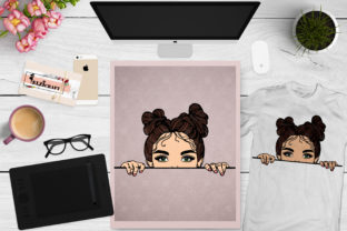 Download Free Peek A Boo Peeking Cute Brunette Girl Graphic By Elzicraft for Cricut Explore, Silhouette and other cutting machines.