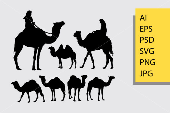 Camel Animal Silhouette Graphic Illustrations By Cove703 - Image 1