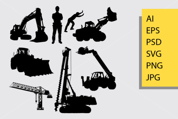 Construction Silhouette Graphic Illustrations By Cove703 - Image 1