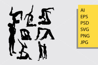 Couple Yoga Sport Silhouette Graphic Illustrations By Cove703