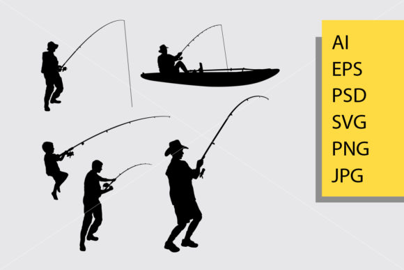 Fishing Silhouette Graphic Illustrations By Cove703
