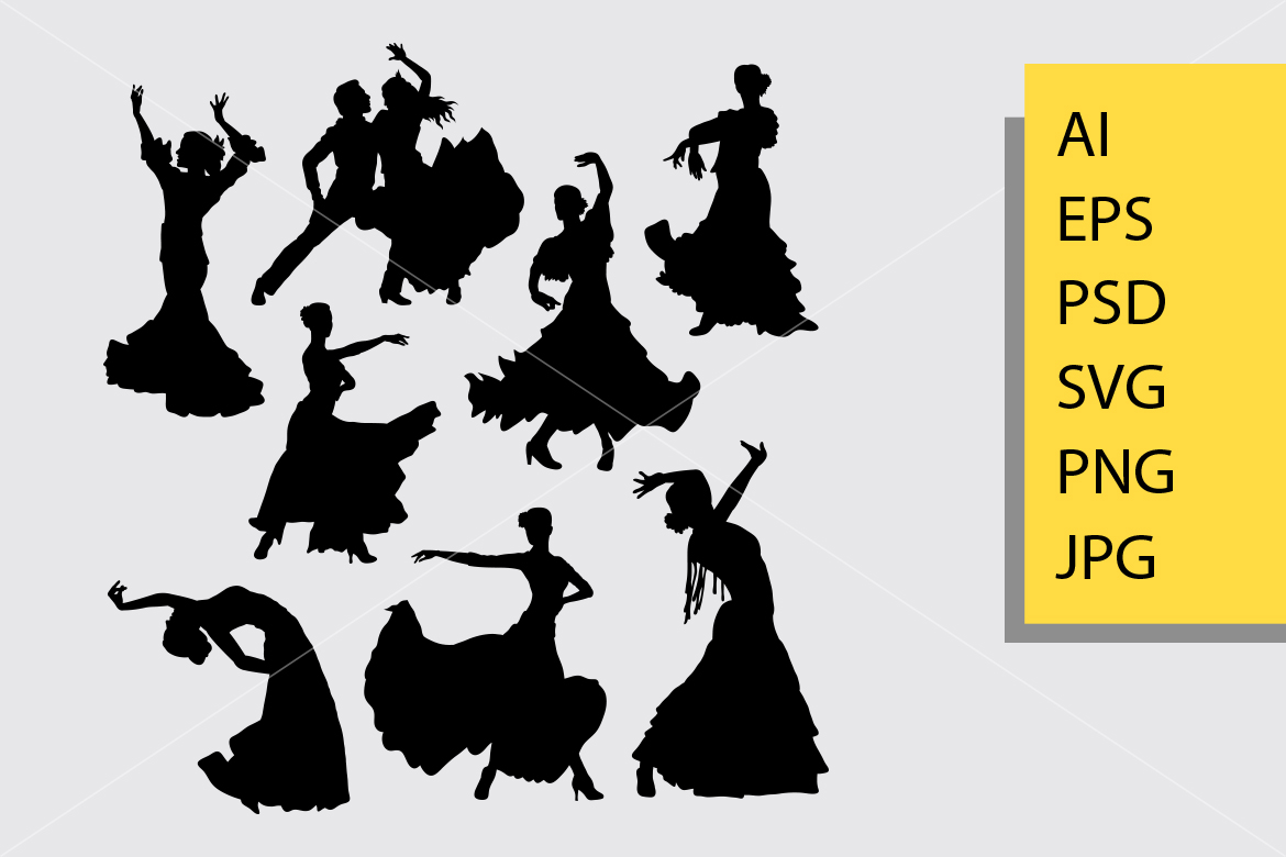Download Free Flamenco Dance Silhouette Graphic By Cove703 Creative Fabrica for Cricut Explore, Silhouette and other cutting machines.