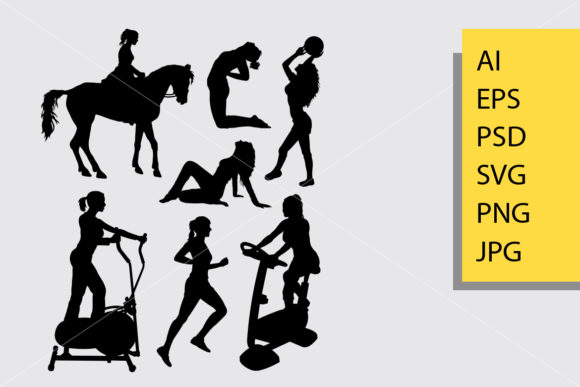 Female Sport Activity Silhouette Graphic Illustrations By Cove703