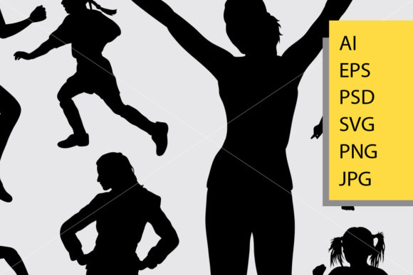 Girl Activity Silhouette Graphic Illustrations By Cove703 - Image 2