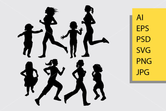 Girl Running Silhouette. Graphic Illustrations By Cove703
