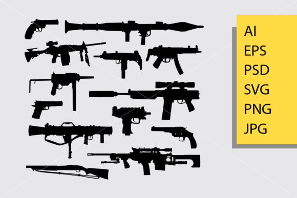 Gun Silhouette Graphic Illustrations By Cove703