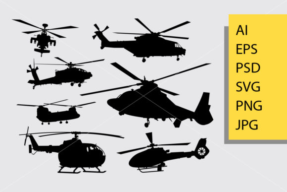 Helicopter Silhouette Graphic Illustrations By Cove703 - Image 1