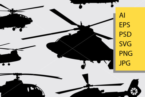 Helicopter Silhouette Graphic Illustrations By Cove703 - Image 2