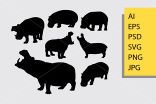 Hippopotamus Silhouette Graphic Illustrations By Cove703