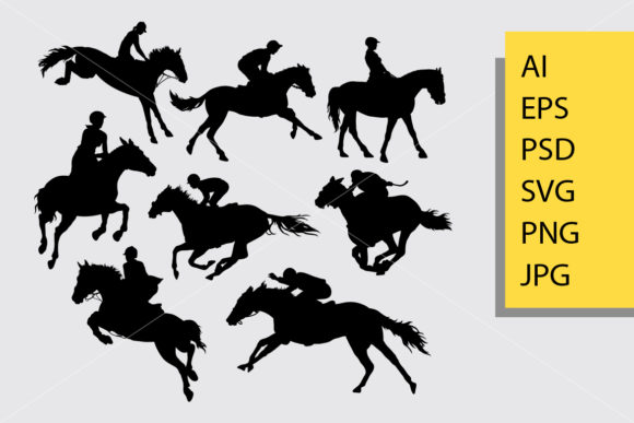 Jockey Silhouette Graphic Illustrations By Cove703 - Image 1