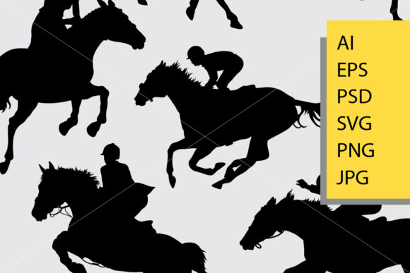 Jockey Silhouette Graphic Illustrations By Cove703 - Image 2