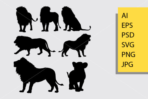 Lion Silhouette Graphic Illustrations By Cove703