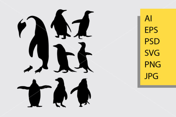 Download Free Penguin Animal Silhouette Graphic By Cove703 Creative Fabrica for Cricut Explore, Silhouette and other cutting machines.