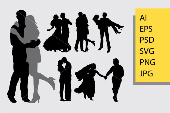 Romantic Couple Silhouette Graphic Illustrations By Cove703