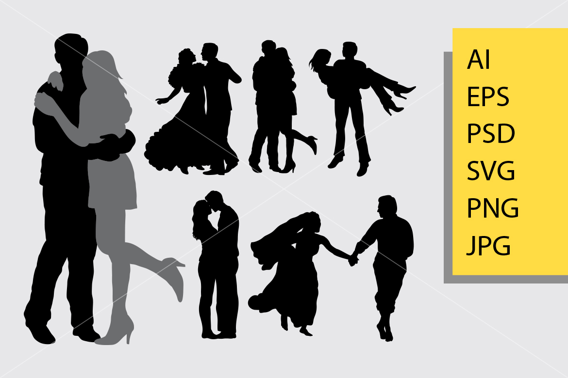 Download Free Romantic Couple Silhouette Graphic By Cove703 Creative Fabrica for Cricut Explore, Silhouette and other cutting machines.