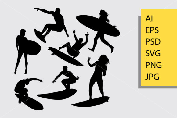 Surfing Silhouette Graphic Illustrations By Cove703 - Image 1