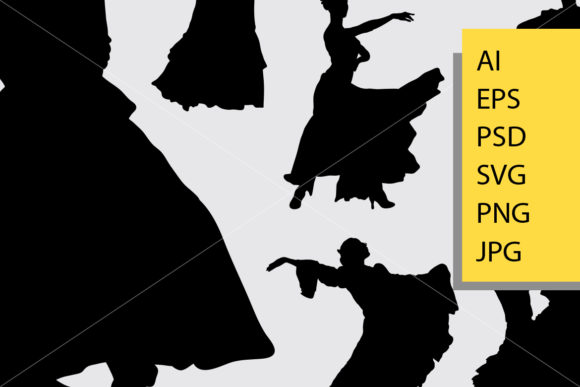 Download Free Traditional Dance Silhouette Graphic By Cove703 Creative Fabrica for Cricut Explore, Silhouette and other cutting machines.