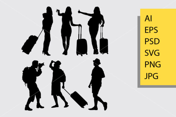 Traveling Male and Female Silhouette Graphic By Cove703