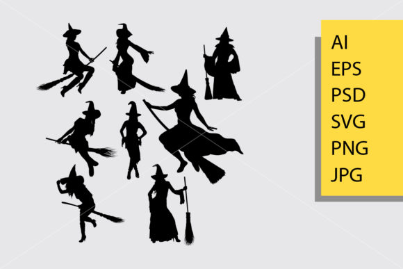 Witch Silhouette Graphic Illustrations By Cove703 - Image 1