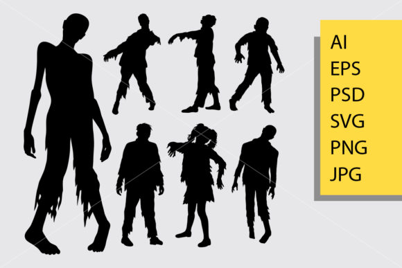 Zombie Silhouette Graphic Illustrations By Cove703 - Image 1